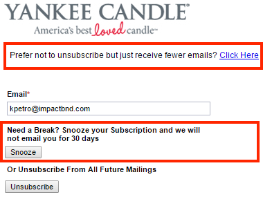 Screenshot of a Yankee Candle unsubscribe page