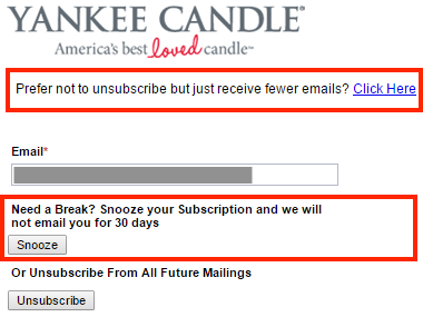 Yankee Candle unsubscribe form with various options