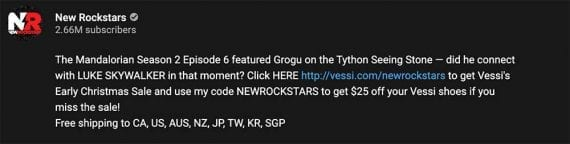 Screenshot of the description on YouTube of the New Rockstars' Mandalorian video