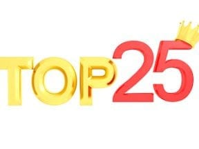Text illustration that reads: Top 25