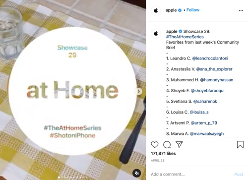 Instagram post from Apple promoting the At Home series