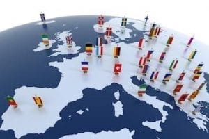 Illustration of Europe map with flags of each country