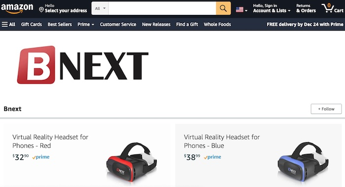 Screen capture of Bnext brand page on Amazon