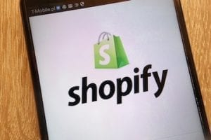 Image of a smartphone screen with Shopify logo on it