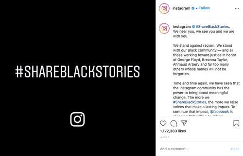 "Instagram's post on its own account, reading ""#shareblackstories"""