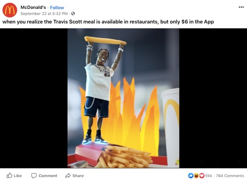 Image of a McDonald's ad with a doll of the rapper Travis Scott