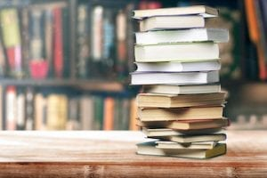 Image of a stack of books on a table