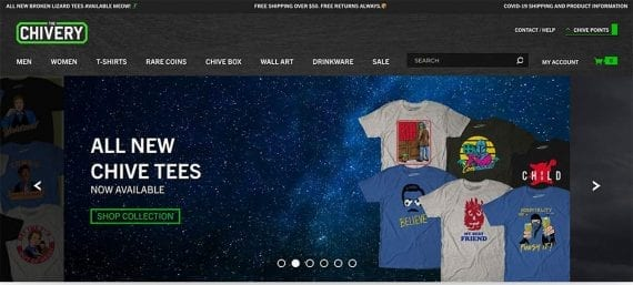 Screenshot of The Chive's web page showing t-shirts for sale