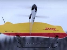 Screenshot of a DHL drone in flight