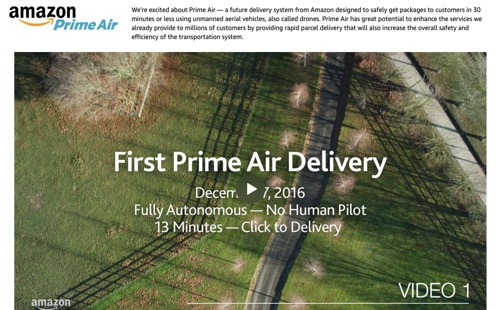 Screenshot of a video showing first Prime Aire delivery in 2016