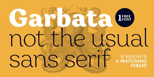 Screenshot of the Garbata font
