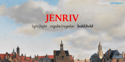 Screenshot of the Jenriv Titling font