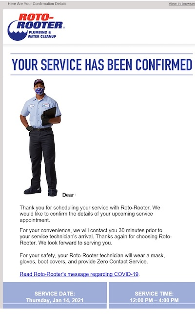 Screenshot of a Roto-Rooter service appointment confirmation.