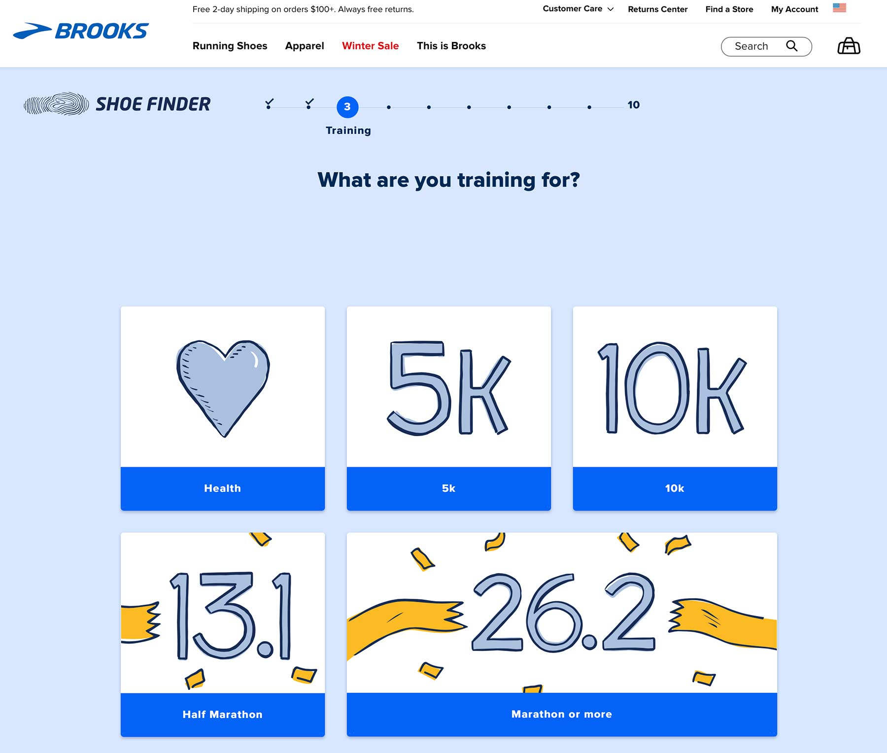 Brooks' running shoe quiz includes asking about one's running goals