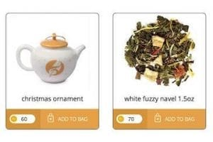 Screenshot of Adagio Teas loyalty page