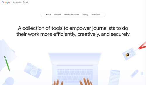 Home page: Google Journalist Studio