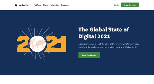 "Web page for Hootsuite's ""The Global State of Digital 2021"""
