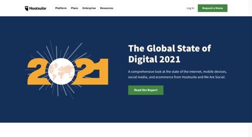 """Page Web pour Hootsuite """"L'état mondial du numérique 2021"""""""