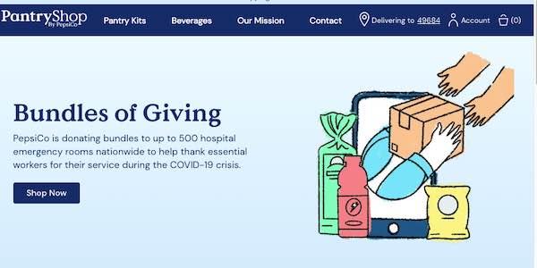 Capture d'écran de la page d'accueil de PantryShop.com.