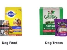 Screenshot of Menard's dog food products