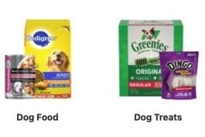 Screenshot of Menard's dog food products