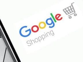 ScImage of a smartphone with Google Shopping logo on the screen.