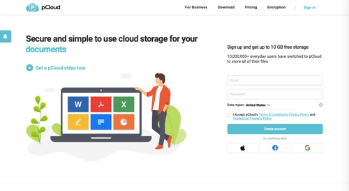 Home page of pCloud