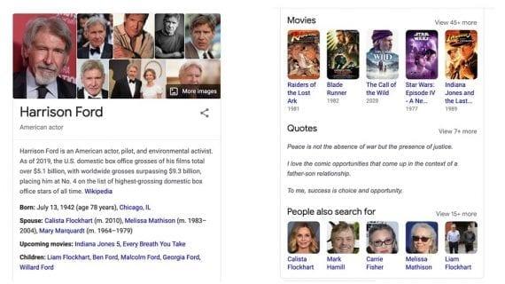 Capture d'écran des résultats de recherche Google pour Harrison Ford, montrant un panneau de connaissances.