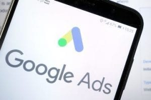 Smartphone screen showing Google Ads logo