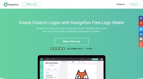 Home page of DesignEvo