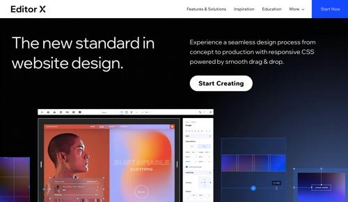 Capture d'écran de la page d'accueil de Editor X