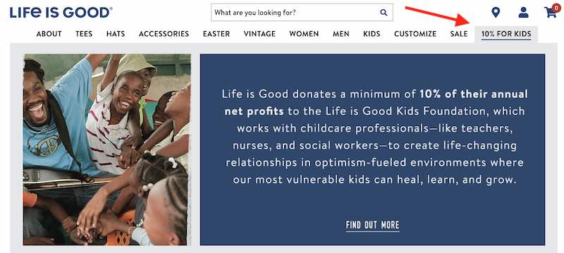 Screenshot of Life Is Good's explanation of donating to kids in need.