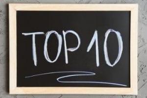 """Illustration of """"top 10"""" written on a chalkboard"""