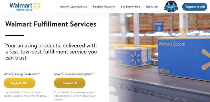 Screenshot of Walmart Fulfillment Services web page