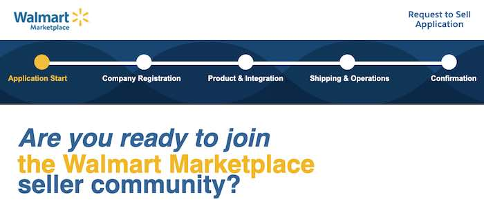 """Screenshot of the """"Apply to sell"""" page for Walmart's marketplace"""