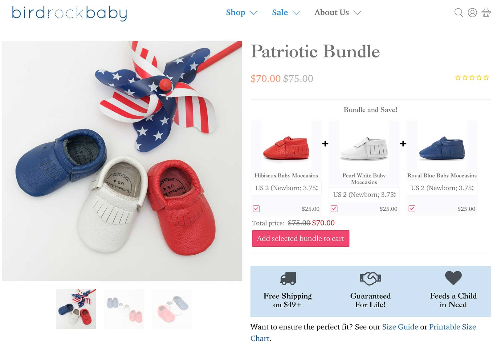 BirdRock Baby product bundle page