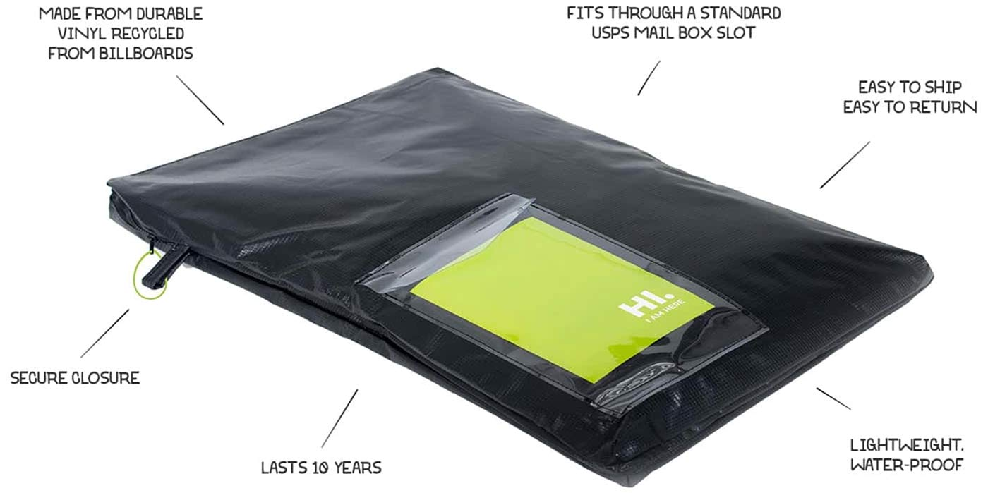 A black sturdy bag with a plastic see through pouch for holding a shipping label.