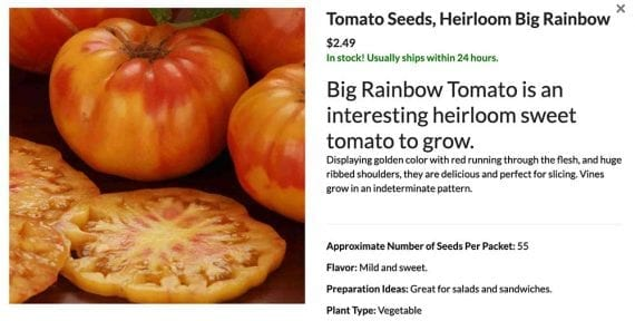 Screenshot of Heirloom Big Rainbow tomato seeds from Ferry Morse