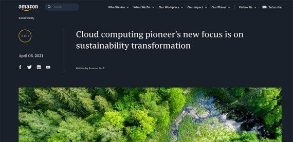 Screenshot of the Amazon corporate blog