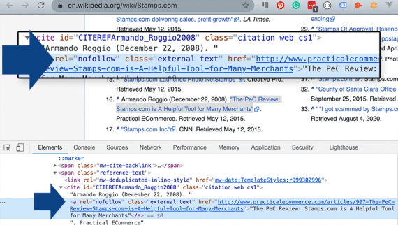 Screenshot of a Wikipedia page showing the backend code