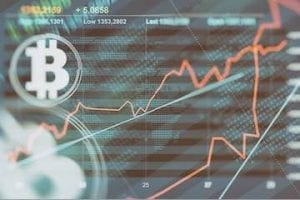 Illustration of a bitcoin symbol on a volatile graph