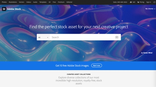 Home page of Adobe Stock