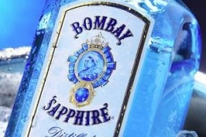 Photo of a bottle of Bombay Sapphire gin.