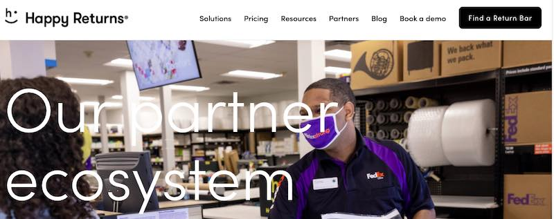 Screenshot of HappyReturns.com showing a FedEx employee