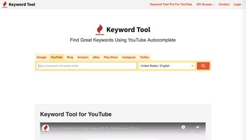 Home page of Keyword Tool