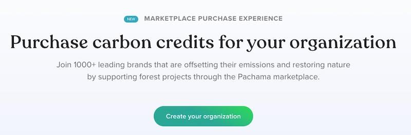 Capture d'écran d'une page de Pachama.com montrant comment acheter un crédit de compensation carbone