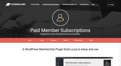 Page d'accueil des abonnements pour les membres payants