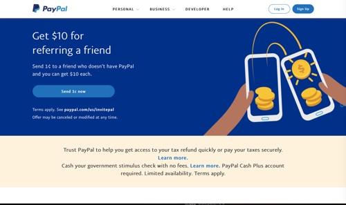 Capture d'écran de la page d'accueil de PayPal