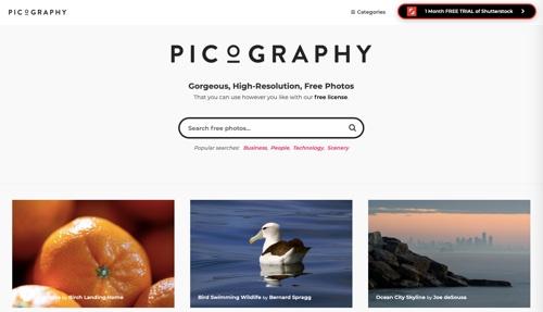 Page d'accueil de Picographie