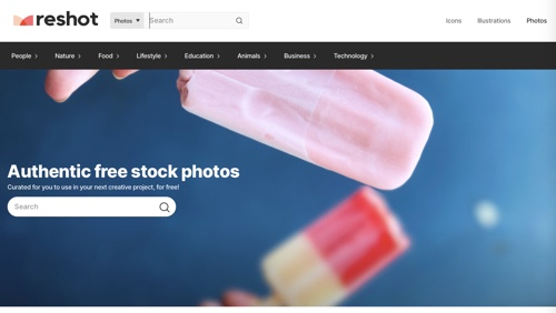 Home page of Reshot
